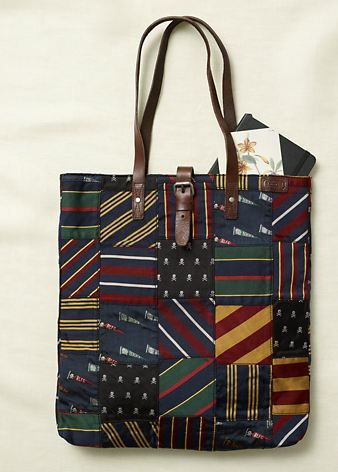 Ralph Lauren Rugby purse that uses patchwork classic neckties