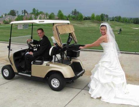 Runaway husband golf cart funny photo at Bear's Best Atlanta