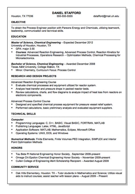 Parsons Energy and Chemical Engineer Resume Sample - http - chemical engineer resume examples