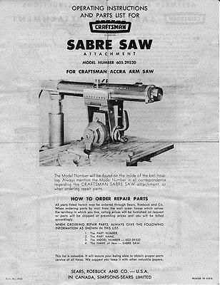 Craftsman 605 29520 Sabre Saw Attachment Instructions Craftsman Instruction Sabre