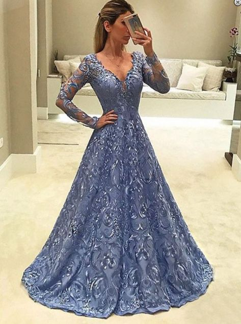 Long Sleeves V Neck Blue Lace Evening Dresses Styles promdresses ... bd946935e565