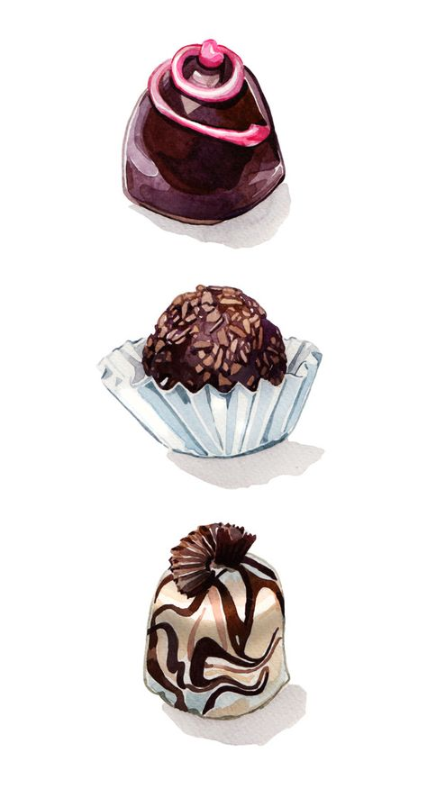 Truffles candy mix assorted sweets dessert 20 PNG elements sweet chocolates praline set Chocolate Sweets watercolor Clip Art candies