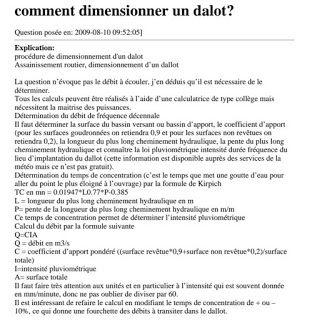 Procedure De Dimensionnement D Un Dalot Assainissement Traitement Des Eaux Usees Exercices Excel
