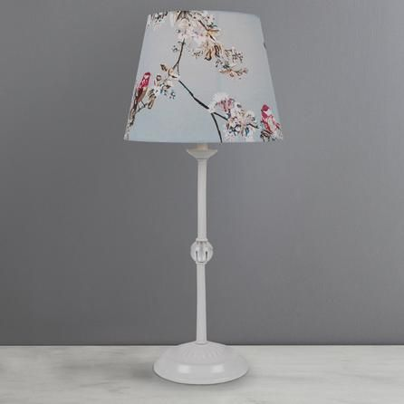 Dunelm Beautiful Birds Duck Egg Blue Cotton Table Lamp 1 X 40 Watt Table Lamp Lamp Bedside Lamps Blue