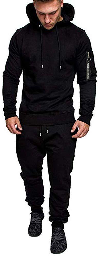 Black Tracksuit For Men Sport Set includes joggers and sweatshirt