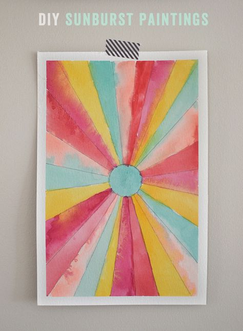 DIY Sunburst Paintings – Back-to-school Art – Math-Inspired Watercolor Painting | Small for Big