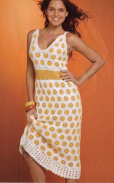 2afb70af18 White Dress with Small Yellow Flowers free crochet graph pattern