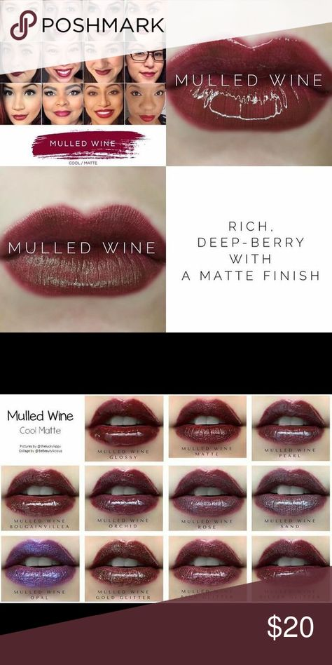 Mulled Wine 🍷 LipSense 💋💋💋 One of my favorites and best sellers! This deep rich color is gorgeous on everyone. Check out the second pic...it shows all the different gloss option! Don't forget ✅ to bundle! LipSense Makeup Lipstick