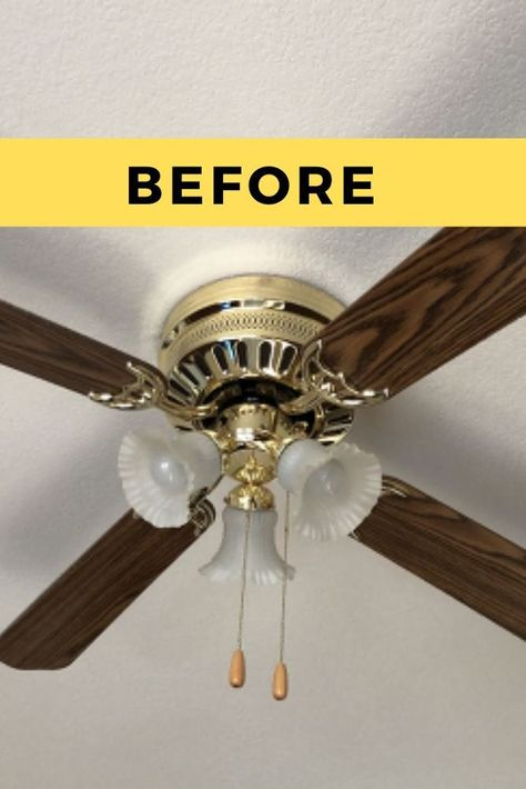 Do you have outdated ceiling fans that you're dying to makeover? check out the before and after photos to see how you can transform your fans from old to modern and sleek. Ceiling Fan Redo, Painting Ceiling Fans, Brass Ceiling Fan, Ceiling Fan Chandelier, Ceiling Fan Makeover, Ceiling Fan Blades, Bedroom Ceiling Fans, Modern Ceiling Fans, Decorative Ceiling Fans