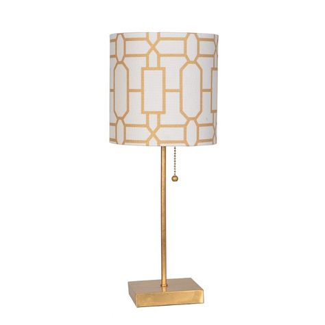 20 Inch Gold Leaf Metal Table Lamp with Pull Chain | Table