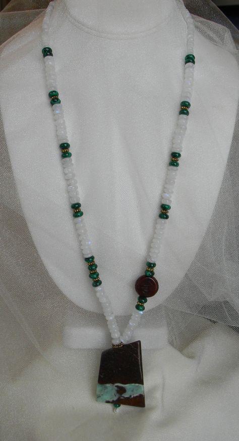 Pierre de lune perles en malachite w collier w par CloudPineStudio