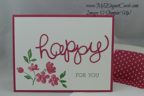 Stampin' Up! Hello You Thinlit Dies - painted petals - crazy about you - occasions 2015 - My Elegant Cards - Liz Bailey -
