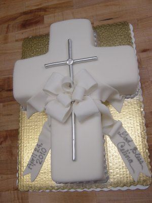 Pretty cross cake for communion or baptism