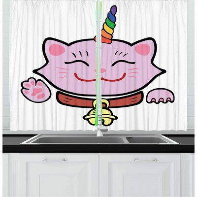 East Urban Home 2 Piece Unicorn Cat Kitchen Curtain Kitchen Curtains Curtains Unicorn Cat