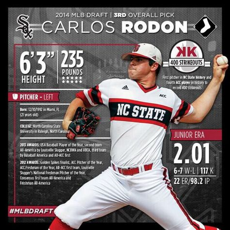 With the 3rd pick in the 2014 @MLBDraft, the #WhiteSox select LHP Carlos Rodon! #MLBDraft #SoxPick