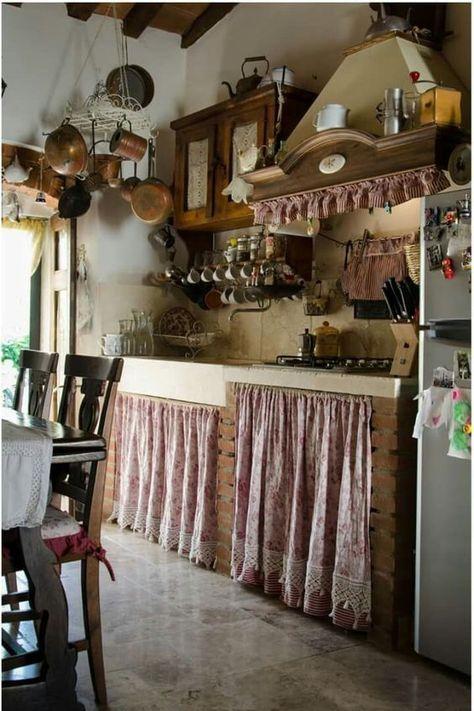 Cortinas Rusticas Para Cocina 1 Decoracion De Cocina De Granja Decoracion De Cocinas Rusticas Cocinas De Casa De Campo Inglesa