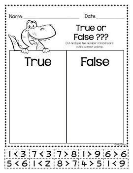 Greater Than Less Than True Or False Freebie First Grade Freebies First Grade Math 1st Grade Math