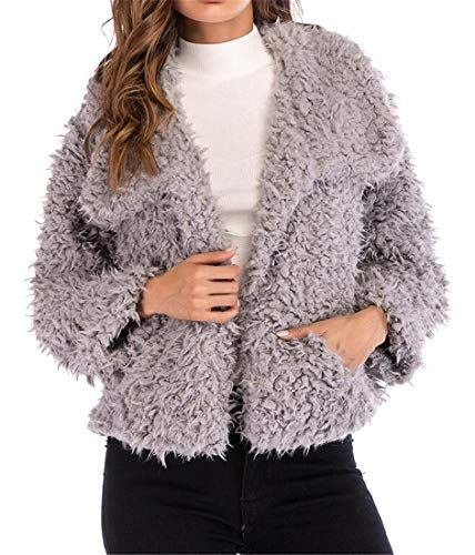 Winter Coats for Women with Fur Hood Short,Women Fluffy Plush Warm Winter Pure Color Coat Jumper Overcoat Jacket Outwear