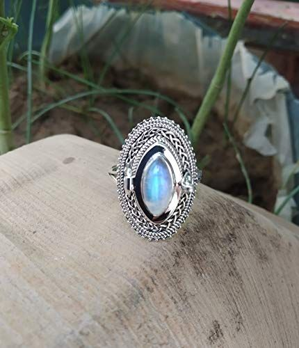 June birthstone ring moonstone Silver Ring gift for sterling silver 925 ring poison ring love ring,small box ring Rainbow  ring
