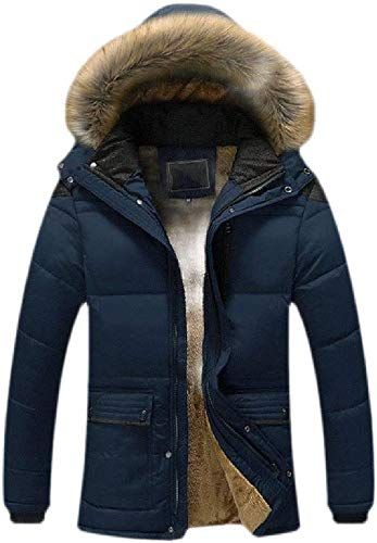 omniscient Men Winter Thicken Cotton Coat Padded Parka Jackets Outerwear with Fur Hood