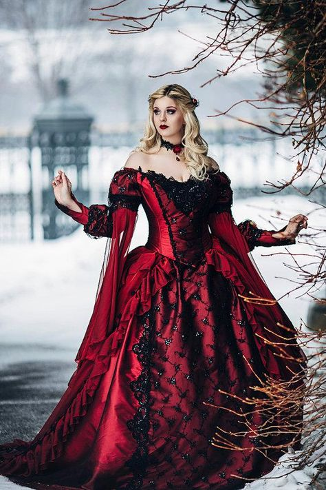 Gothic Sleeping Beauty Princess Medieval Red And Black Ball Gown Wedding  Dress Long Sleeve Lace Appliques Victorian Bridal Gowns Wedding Dress  Corset ... 8a703b8cb758