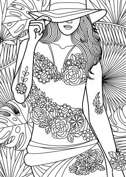 Don T You Love This Hawaiian Girl With Floral Tattoos Coloring