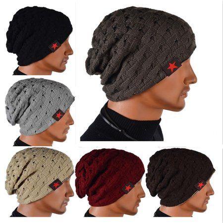 New Fashion Men Knit Beanie Reversible Baggy Cap Skull Chunky Winter Hat