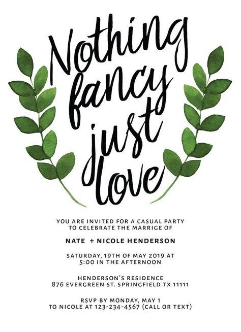 Elopement Reception Party Invitations Casual Wedding