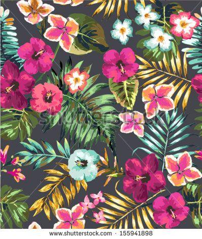 Dibujo A Mano Transparente De Flores Tropicales Fondo Estampado De
