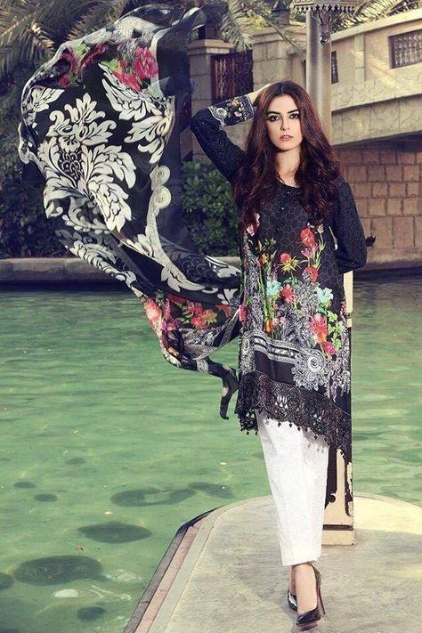 cab36cff9a Black Self Printed Patch Lawn Dress Chiffon Dupatta – Nameera by Farooq