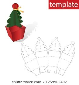 Retail Box With Template Christmas Tree Template On The Box With Gifts Vector Graphics Gift Box Template Christmas Tree Template Christmas Gift Box Template