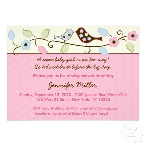 Love Birds Flower Baby Shower Invitations Bird theme, Shower - baby shower invitations words