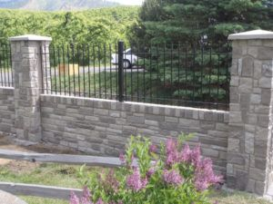 Wrought Iron Fence On Top Of Block Wall Iron Fence Brick Fence Fence Design