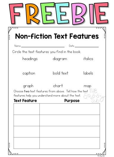 Free Nonfiction Text Features Graphic Organizers