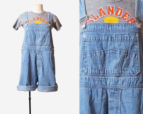 ae00b767c64e Vintage 90s Gap Denim Overall Shorts / 1990s Shortalls Bib 90s Grunge Jean  Suspender Blue Shorts