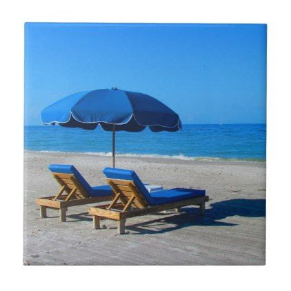 Beach Umbrella Lounge Chairs Ceramic Tile Zazzle Com With Images Perfect Vacation Beach Chairs Timeshare