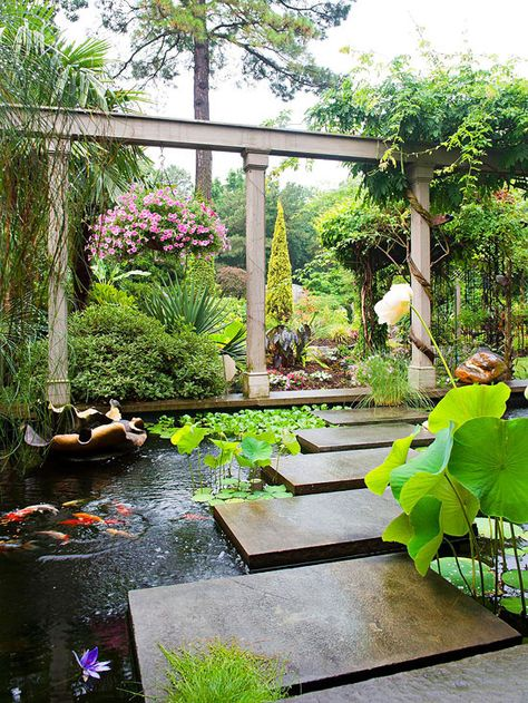 A landscape water feature can suit any garden style, garden size, or gardener& time commitment. If you& considering adding a landscape water feature or expanding one you already have, get inspired with our guide to landscape water features. Outdoor Water Features, Water Features In The Garden, Large Water Features, Ponds Backyard, Backyard Landscaping, Landscaping Ideas, Koi Ponds, Garden Ponds, Outdoor Fish Ponds