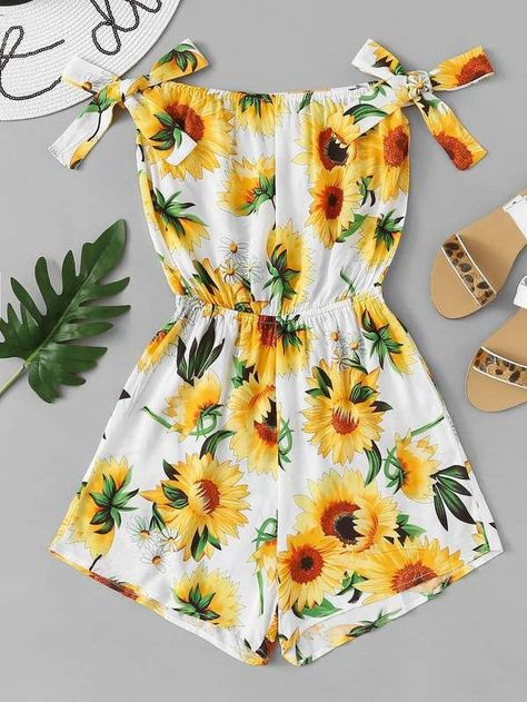 58aa6c8765 Off Shoulder Floral Print Top With Shorts -SheIn(Sheinside)