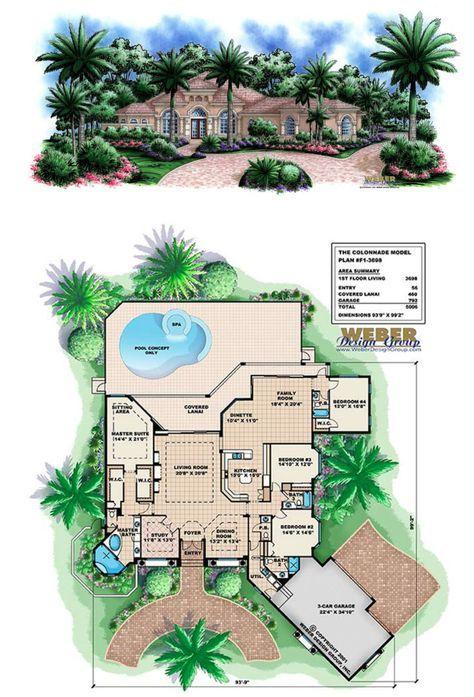 Mediterranean House Plan Coastal Home Floor Plan With Swimming Pool House Floor Plans Mediterranean Homes Mediterranean House Plan