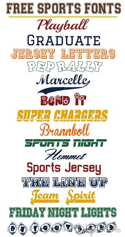 ALL FREE Sports fonts with links to each download. Also has links to all sorts of other font collections and how to download and use free fonts!