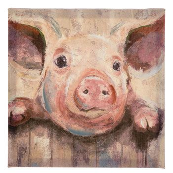 Pig At Fence Painted Canvas Wall Decor Hobby Lobby 1658798 In 2021 Pig Wall Art Canvas Wall Decor Dog Decor