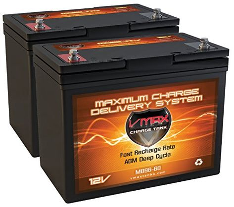 127cc6a7ff2 QTY 2 VMAXMB96 AGM Group 22 Deep Cycle Battery Replacement for Karma  Medical Products Power Wheelchairs KP-40 KP-45 12V 60Ah Battery