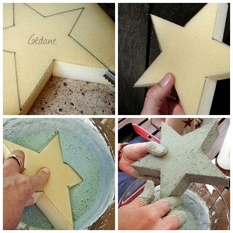 Use a foam to soak up concrete mix in whatever shape you desire and let it harden into a hardened version of what you just cut out! Make decorations to garden