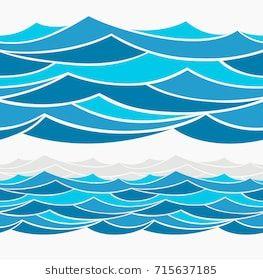 Marine Seamless Pattern Stylized Blue Waves Stock Vector (Royalty Free) 613216568