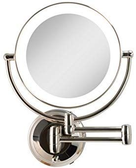 Amazon Com Zadro Cordless Dual Led Lighted Round Wall Mount Make Up Mirror With 1x 10x Magnification In Polished Nicke Makeup Mirror Polished Nickel Mirror