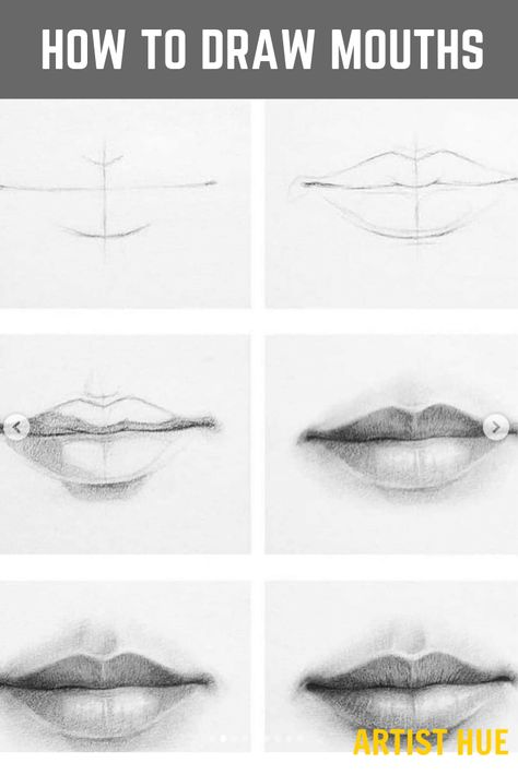 How to draw mouths like a pro step by step? | for beginners | realistic tutorial | #mouth #artisthue #howtodraw