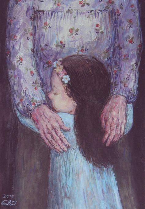 LITTLE GIRL & GRANDMA Hug Love care Flower KIDS by Chakvetadze MODERN postcard | eBay