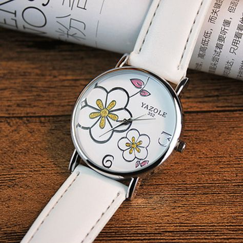 1208e77f42 YAZOLE Brand Elegant Flowers Fashion Crystal Watch Women Watches Leather  Strap Quartz Watch Lady Hour montre femme reloj mujer Like if you are  Excited!