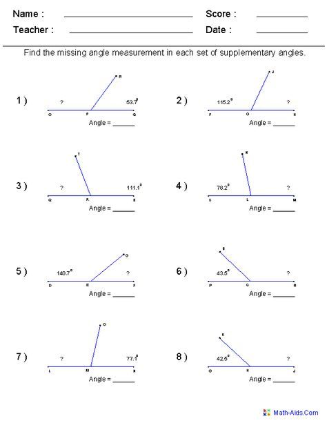 Math Worksheets For Every Grade Free I Have It On Angles For My 6th Grader Geometry Worksheets Angles Worksheet Algebra Worksheets