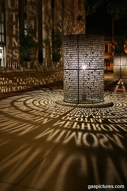 Light Sculpture In front of a building in downtown Ft. Myers Your solitary shape sleeping Landscape Architecture, Landscape Design, Corte Plasma, Instalation Art, Shadow Art, Street Furniture, Landscape Lighting, Kirchen, Light Art
